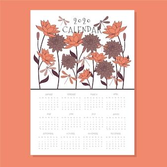 Szablon kwiatowy kalendarz 2020