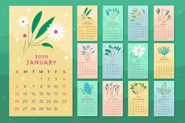 Szablon kwiatowy kalendarz
