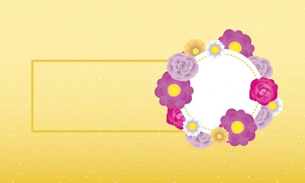 Szablon kwiatowy karty ozdobne z ramą koła