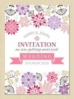 Szablon kwiatowy plakat. plakat zaproszenie na ślub z kolorowym kwiatem kwiatowym, ilustracja