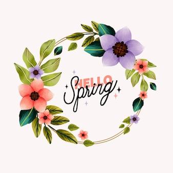 Szablon kwiatowy ramki akwarela wiosna