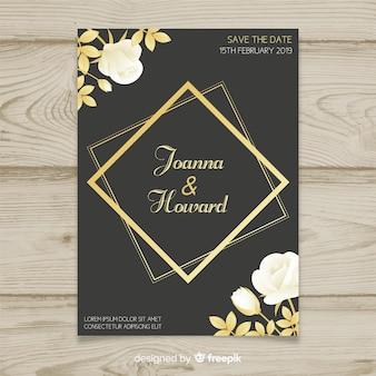 Szablon kwiatowy ślub karty