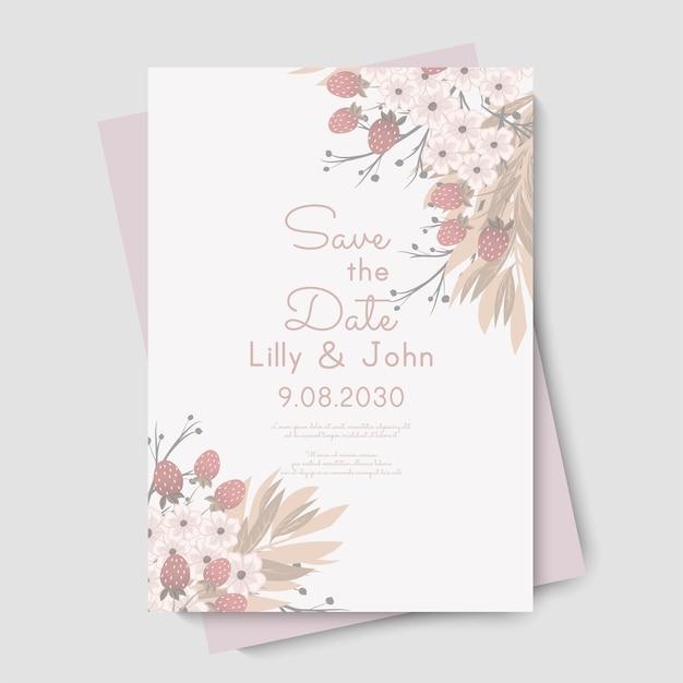 Szablon kwiatowy ślub - różowa karta kwiatowy