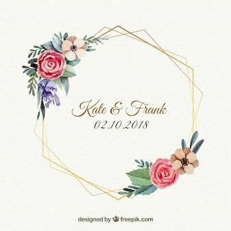 Szablon kwiatowy wesele ramki