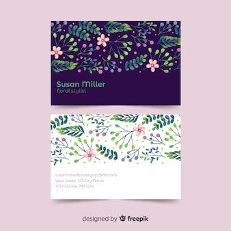 Szablon kwiatowy wizytówki akwarela