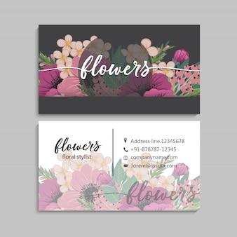 Szablon kwiatowy wizytówki
