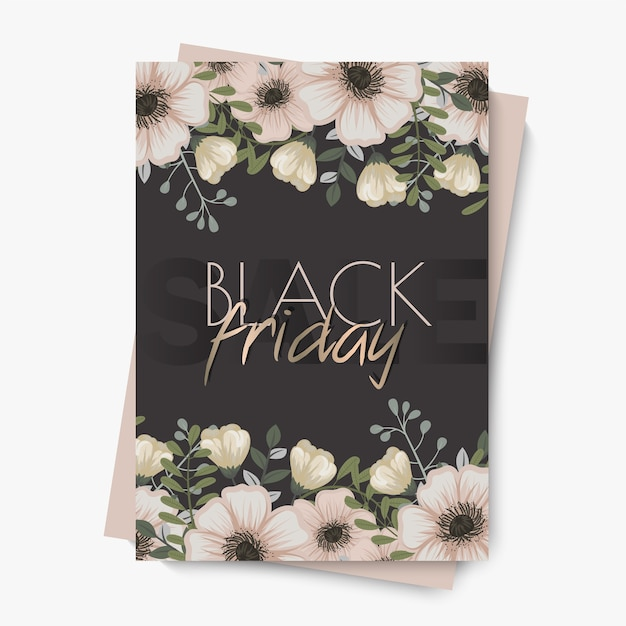 Szablon kwiatowy wzór na sprzedaż w czarny piątek