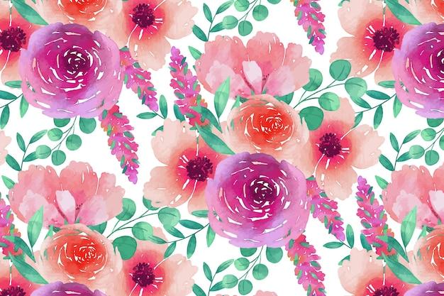 Szablon kwiatowy wzór różowy i fioletowy akwarela bezszwowe