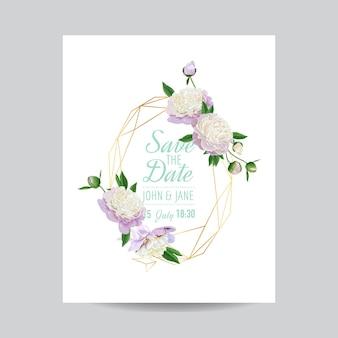 Szablon kwiatowy zaproszenia ślubne. zapisz datę geometryczną złotą ramkę z miejscem na tekst i białe piwonie kwiaty. kartkę z życzeniami, plakat, baner. ilustracja wektorowa