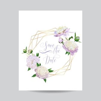 Szablon kwiatowy zaproszenia ślubne. zapisz datę złotą ramkę z miejscem na tekst i białe kwiaty piwonii. kartkę z życzeniami, plakat, baner. ilustracja wektorowa