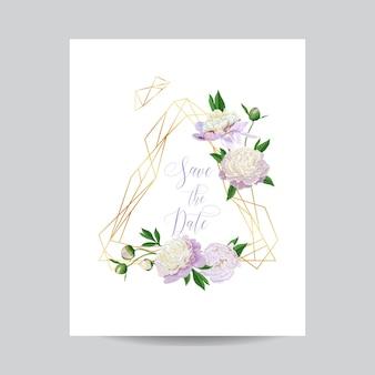 Szablon kwiatowy zaproszenia ślubne. zapisz datę złotą ramkę z miejscem na tekst i białe piwonie kwiaty. kartkę z życzeniami, plakat, baner. ilustracja wektorowa