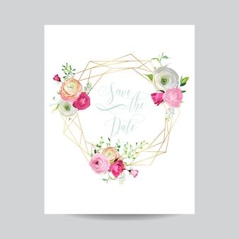 Szablon kwiatowy zaproszenia ślubne. zapisz datę złotą ramkę z miejscem na tekst i różowe kwiaty. kartkę z życzeniami, plakat, baner. ilustracja wektorowa