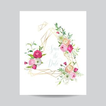 Szablon kwiatowy zaproszenia ślubne. zapisz datę złotej ramie z miejscem na tekst i kwiaty jaskier. kartkę z życzeniami, plakat, baner. ilustracja wektorowa