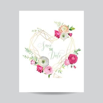 Szablon kwiatowy zaproszenia ślubne. zapisz ramkę data heart z miejscem na tekst i różowe kwiaty. kartkę z życzeniami, plakat, baner. ilustracja wektorowa
