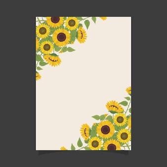 Szablon kwiatowy zaproszenie ze słonecznikami