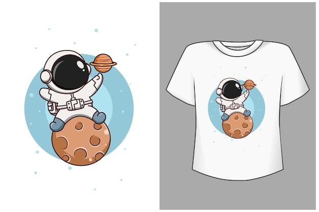 Szablon ładny astronauta na ilustracji kreskówki księżyca