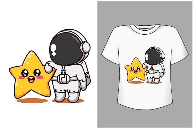 Szablon ładny astronauta z gwiazdą kreskówki ilustracją