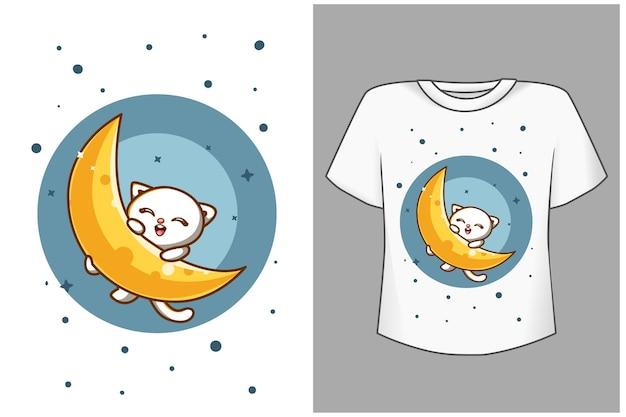 Szablon ładny kot z księżycową ilustracją kreskówki