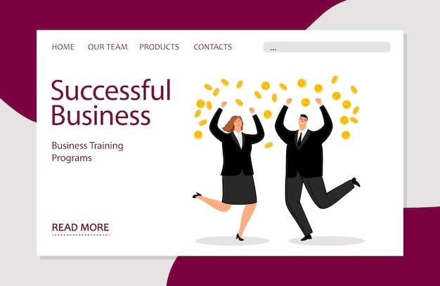 Szablon lądowania udanego biznesu. biznesowa ilustracja z biznesmenami i pieniądze