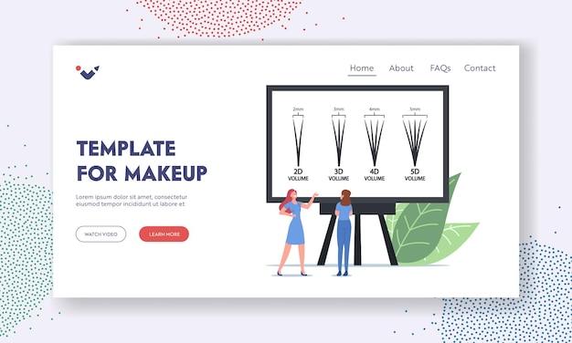 Szablon landing page do przedłużania rzęs. mały mistrz kobiecej postaci prezentując infografiki procedury kosmetycznej z rodzajami rzęs od 2d do 5d na ekranie. ilustracja wektorowa kreskówka ludzie