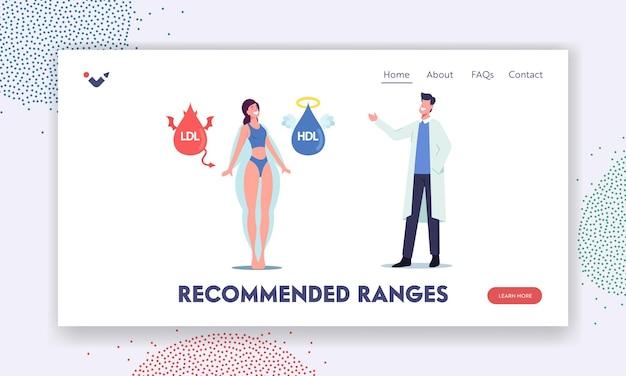 Szablon landing page tłuszcz hdl i ldl. lekarz wyjaśnij pacjentce o dobrym i złym cholesterolu. postać kobiety stoi między lipidami diabła i anioła. ilustracja wektorowa kreskówka ludzie