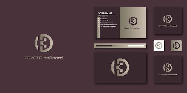 Szablon listu logo crypto z nowoczesną koncepcją i projektem wizytówki