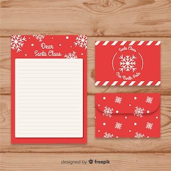 Szablon listu śnieżynka santa claus