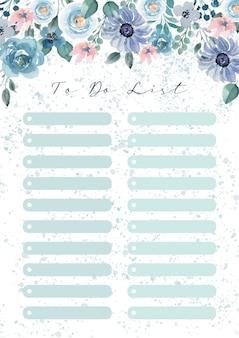 Szablon listy rzeczy do zrobienia z niebieskim kwiatem akwarela