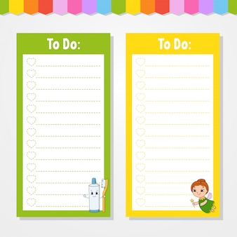 Szablon listy zadań dla dzieci