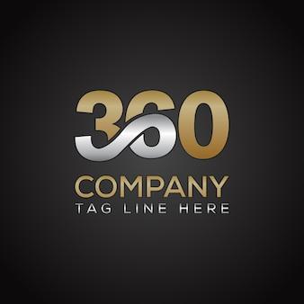 Szablon logo 360 typografia medialna templete z złoty srebrny błyszczący kolor węgla.