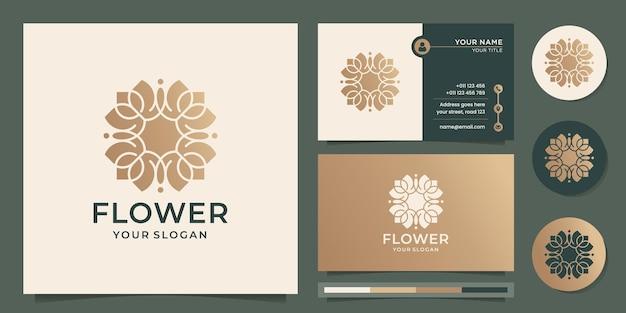 Szablon logo abstrakcyjnego kwiatu luksusowy projekt różowego złota i wizytówki premium vector