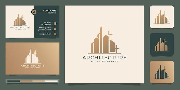 Szablon logo architektury. nieruchomość, logo architekta, budynek, wieża, wizytówka, nowoczesne domy.