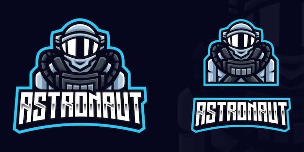 Szablon logo astronaut gaming dla streamera e-sportowego facebook youtube
