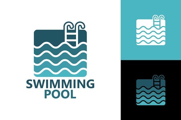 Szablon logo basenu wektor premium