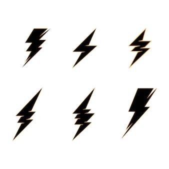 Szablon logo błyskawicy energii elektrycznej piorun