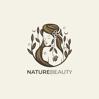 Szablon logo brązowy piękna kobieta