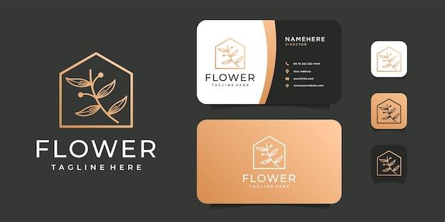 Szablon logo budowy domu nieruchomości uroda kwiat oliwek.