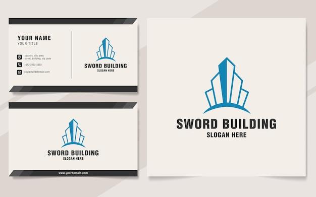 Szablon logo budynku miecza w stylu monogram