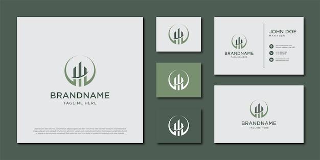 Szablon logo budynku. projekt logo i zestaw wizytówek