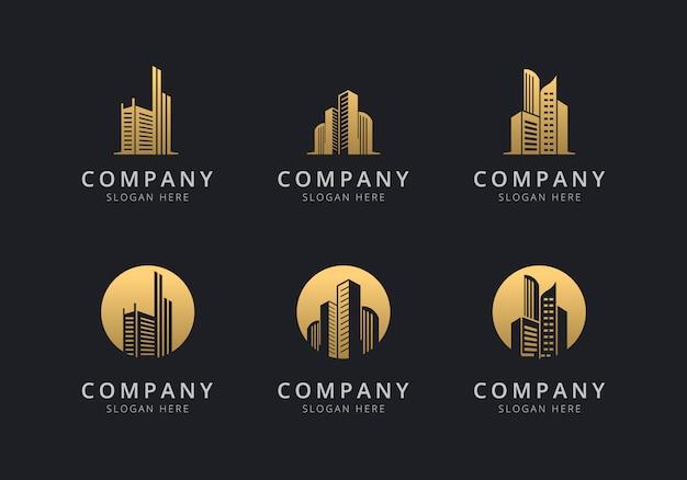 Szablon logo budynku w kolorze złotym dla firmy