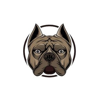 Szablon logo buldoga na granicy głowy