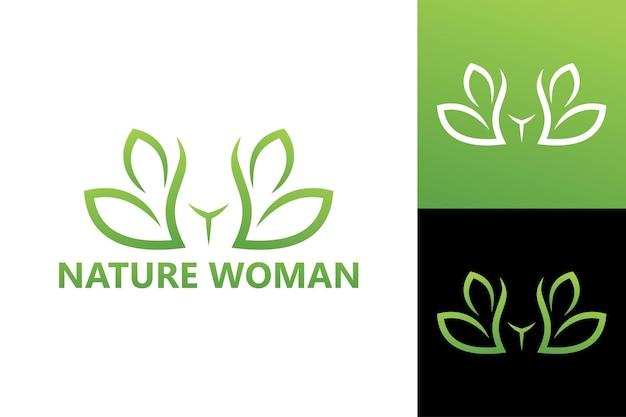 Szablon logo ciała kobiety natura wektor premium