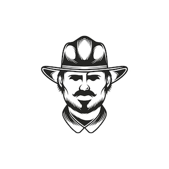 Szablon logo cowboy face