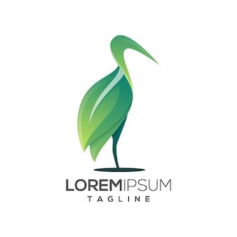Szablon logo czapla bocian zielony liść