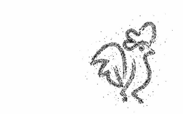 Szablon logo cząstek absstarct koguta (kury). ilustracja wektorowa.