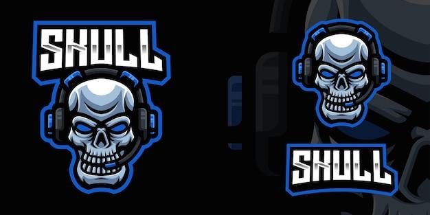 Szablon logo czaszki z zestawem słuchawkowym gaming mascot dla streamera e-sportowego facebook youtube