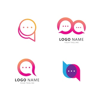 Szablon logo czatu bąbelkowego