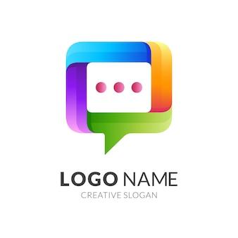 Szablon logo czatu z 3d kolorowy design, ikona ilustracja