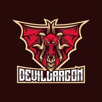 Szablon logo devil dragon esport