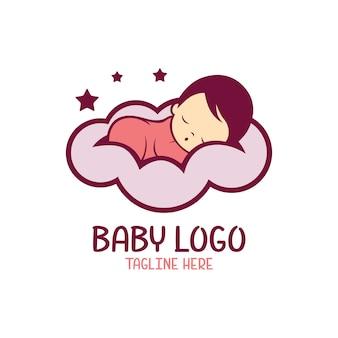 Szablon logo dla dzieci na białym tle